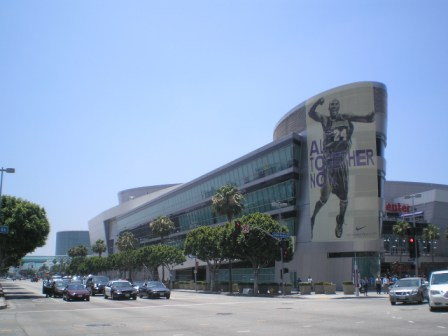 LOS ANGELES LAKERS BANNER IN DOWNTOWN LA