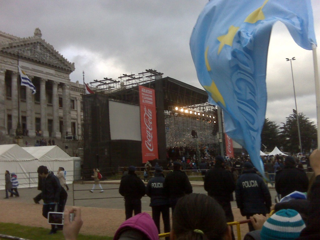 Stage in front of Uruguayan House of Parliament honoring Uruguayan soccer team
