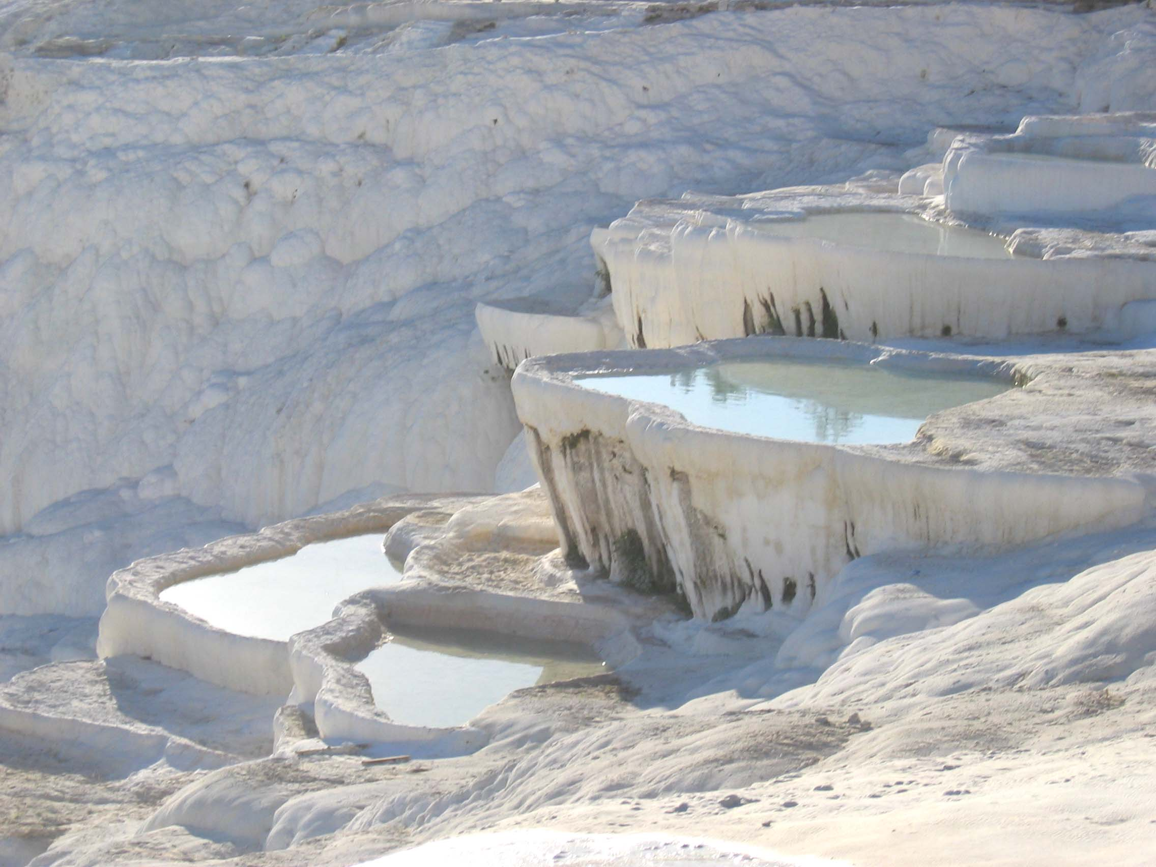 Pamukkale thermal baths on a slope