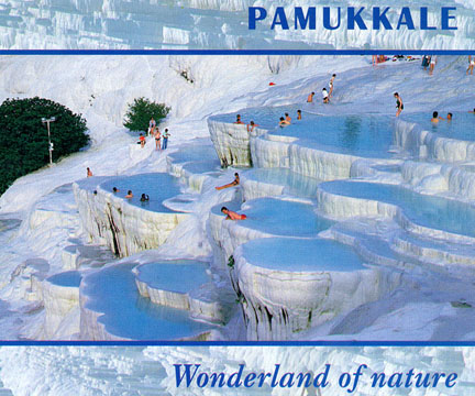 A postcard of Pamukkale thermal baths in Turkey