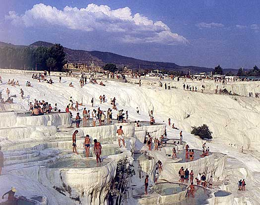 People enjoying Pamukkale thermal baths