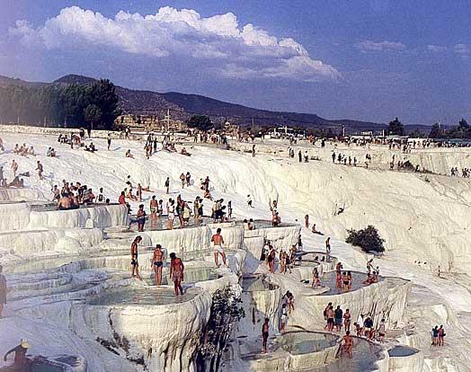 People enjoying Pamukkale thermal baths