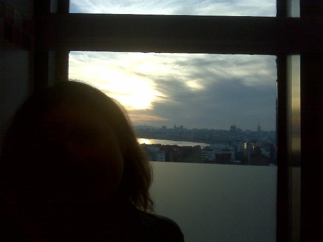 Girl in window of Sheraton Montevideo spa