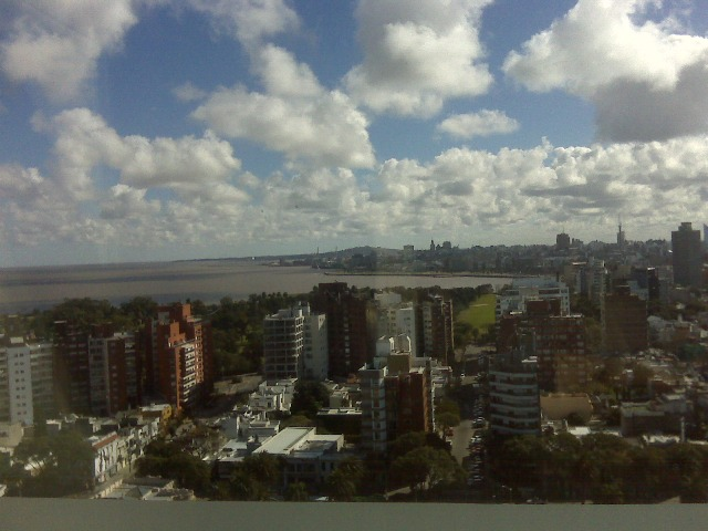 Clouds and skyline of Montevideo from Sheraton spa