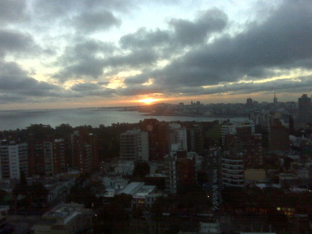 Sunset view of Montevideo from Sheraton spa windows