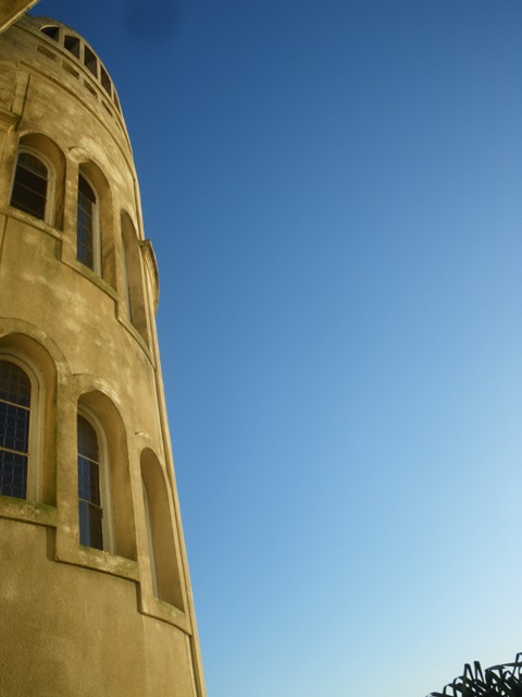 Tower at the Argentino hotel with blue skies