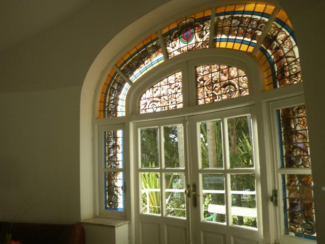 Beautiful stained glass windows of Argentino Hotel, Uruguay