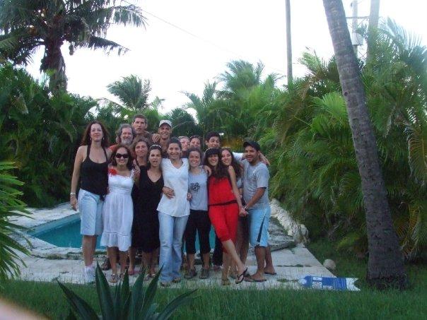 Beach house near Havana, Film production students posing