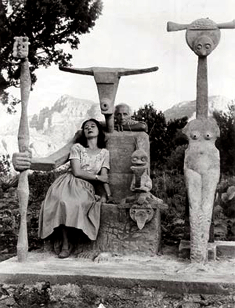 Max Ernst And wife Dorothea Tanning by Ernst's sculpture in their Sedona House