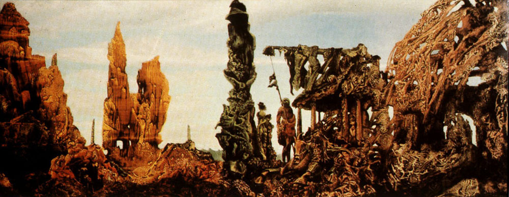 Max Ernst's painting Europe after the rain features unreal mountains and towers made up of human skulls and bones