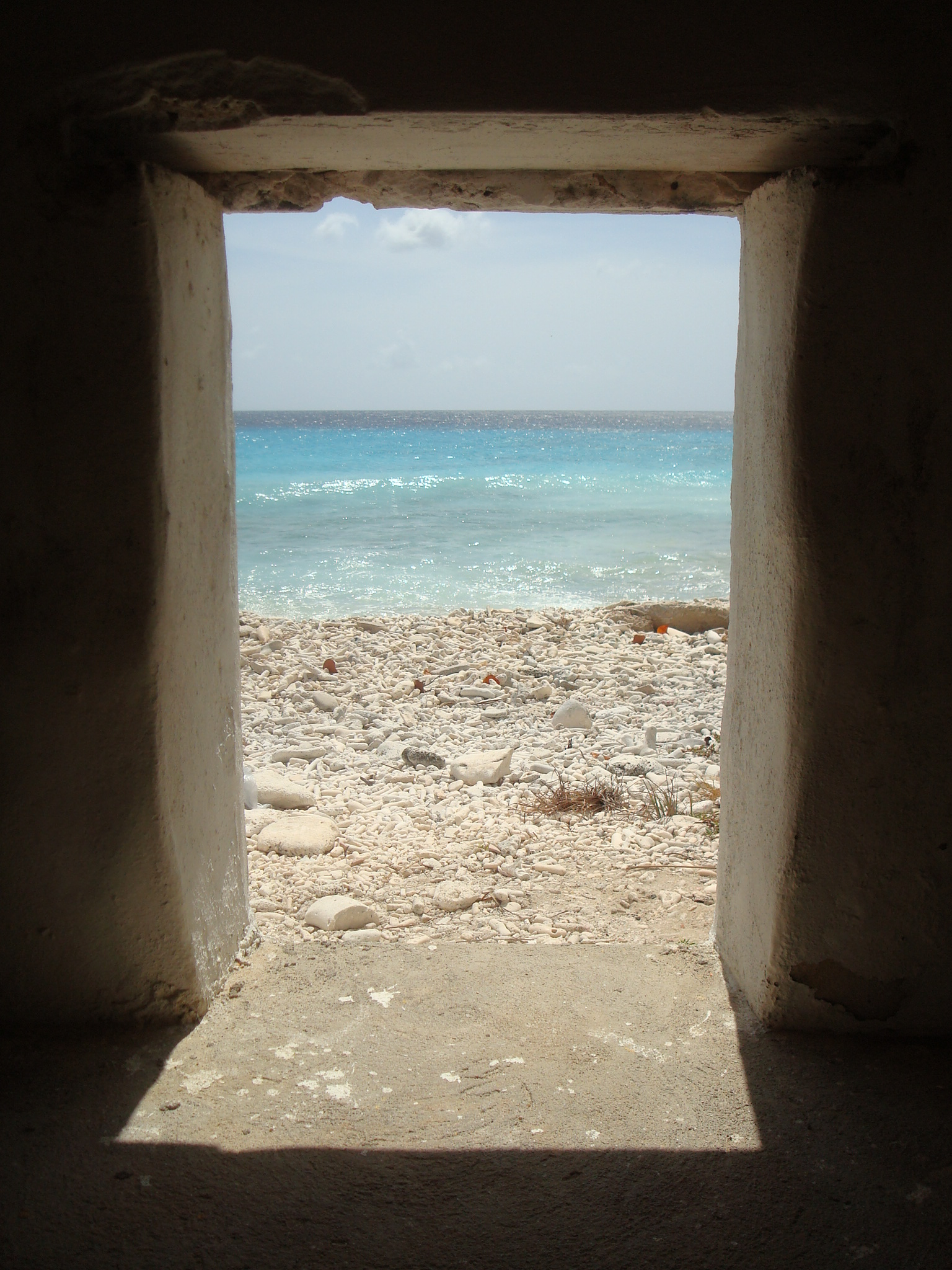 Sea view from a slave hut in Bonaire