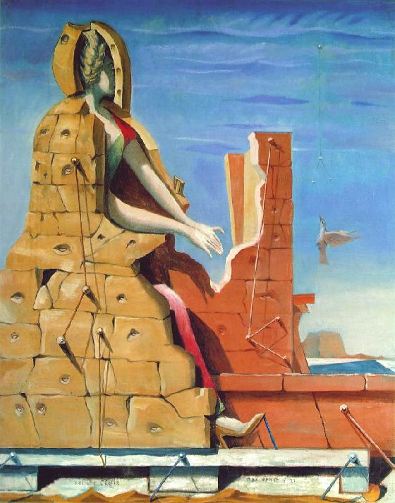 SAINT CECILIA AT THE PIANO. PAINTING BY MAX ERNST