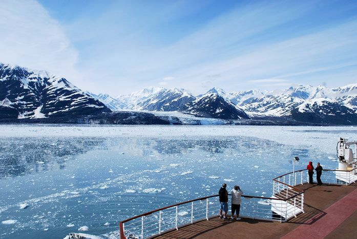 Hubbard Glacier seen from a cruise ship deck