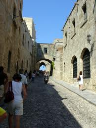 A medieval street in Rhodes, Greece