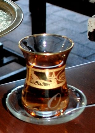 turkish tea served on typical container