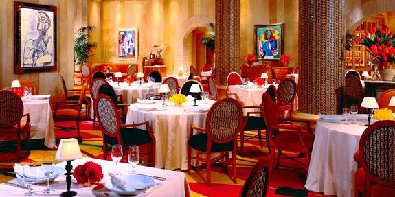 Decor of Picasso restaurant Vegas with Picasso art on the walls